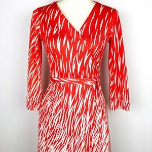DVF Silk Wrap Dress Julian Two Orange White Size 8